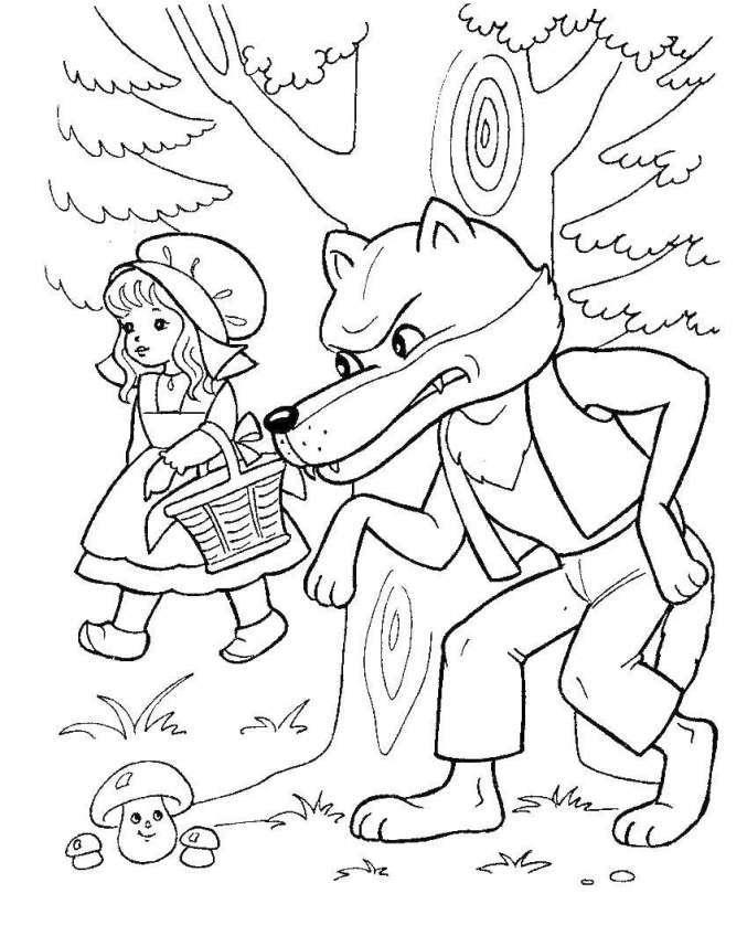 Tổng hợp tranh tô màu cô bé quàng khăn đỏ trong truyện cổ tích