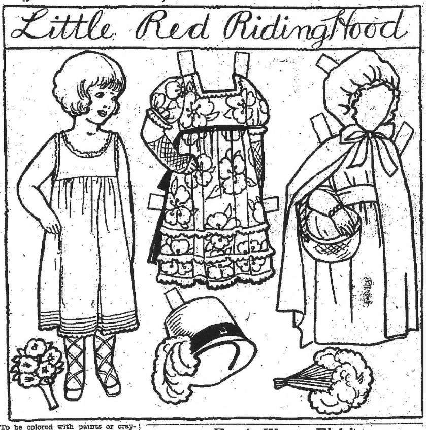 Tổng hợp tranh tô màu chú bé quàng khăn đỏ trong truyện cổ tích