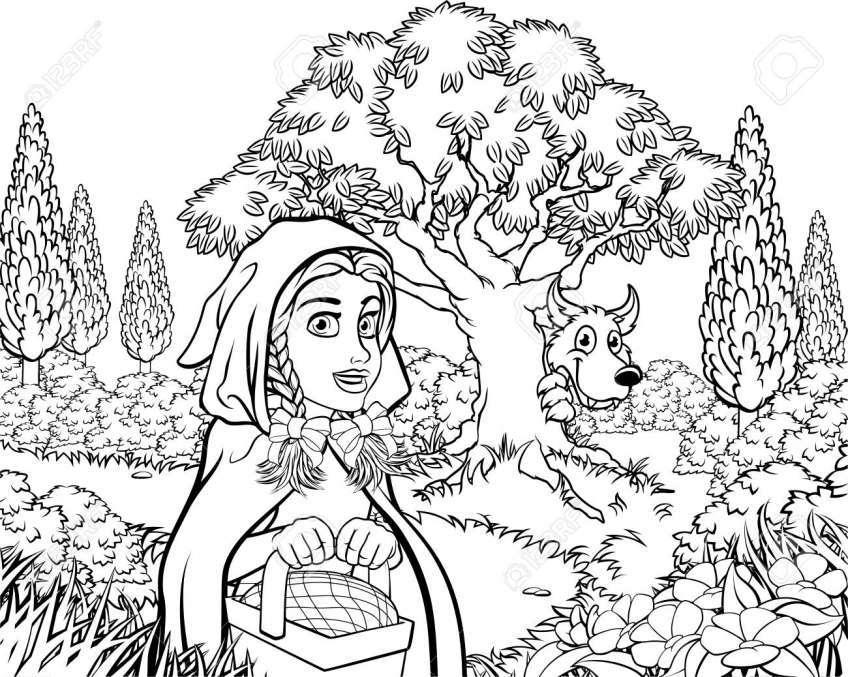 Tổng hợp tranh tô màu Cô bé quàng khăn đỏ trong truyện cổ tích 1