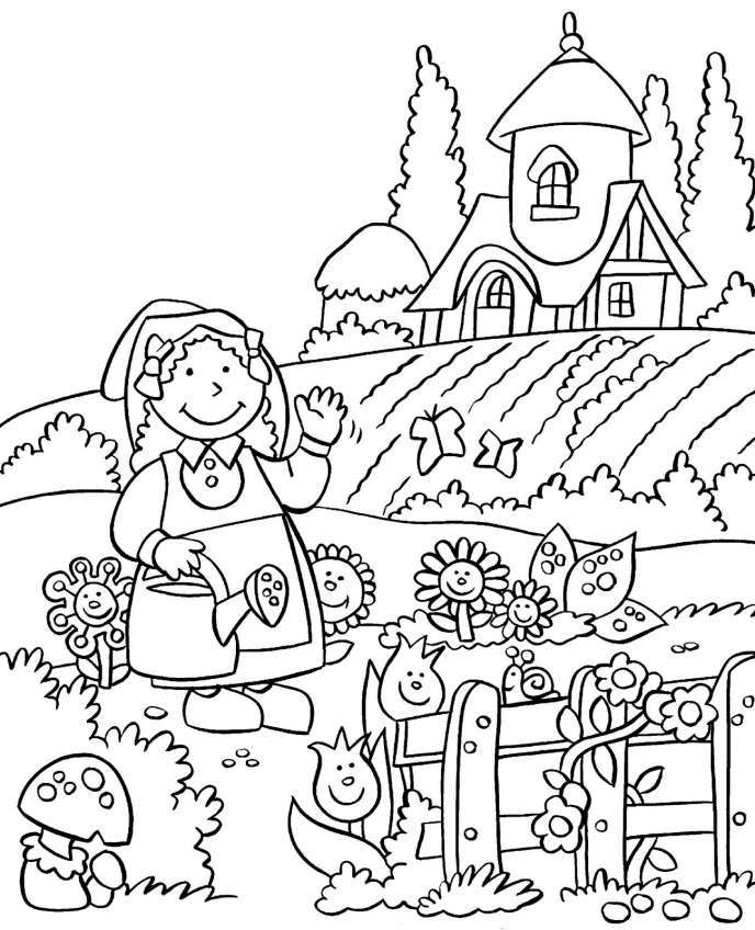 Bộ sưu tập tranh tô màu phong cảnh mùa xuân đầy màu sắc cho bé yêu