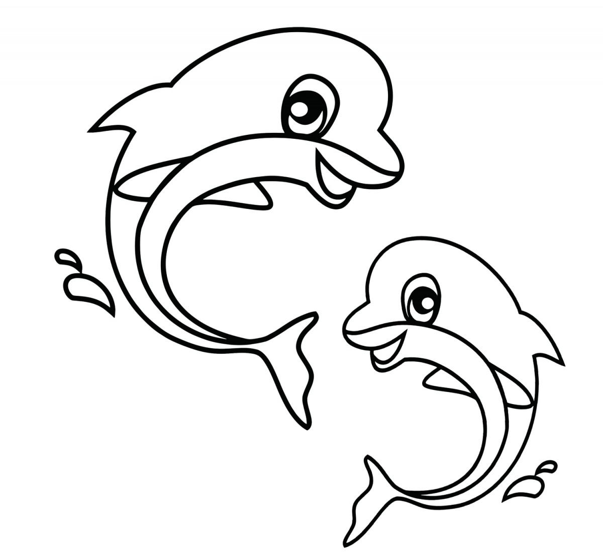 Tuyển tập tranh tô màu cá heo đẹp nhất cho bé
