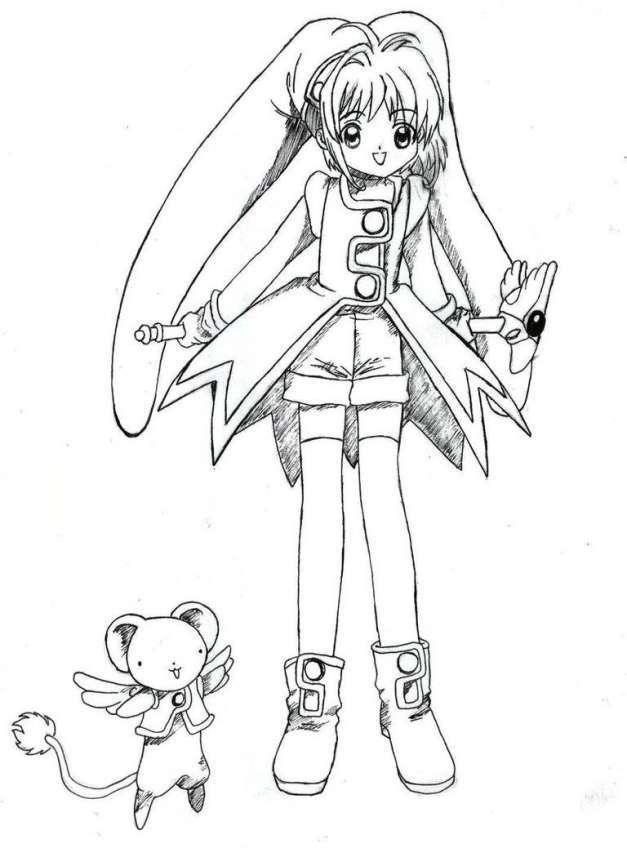 Tuyển tập tranh tô màu thủ lĩnh thẻ bài Sakura đẹp nhất cho bé yêu