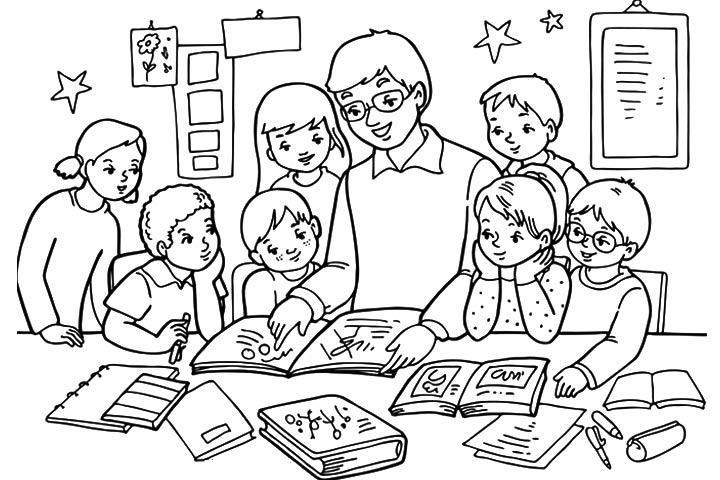 Tổng hợp những bức tranh tô màu cô giáo và học sinh đẹp nhất
