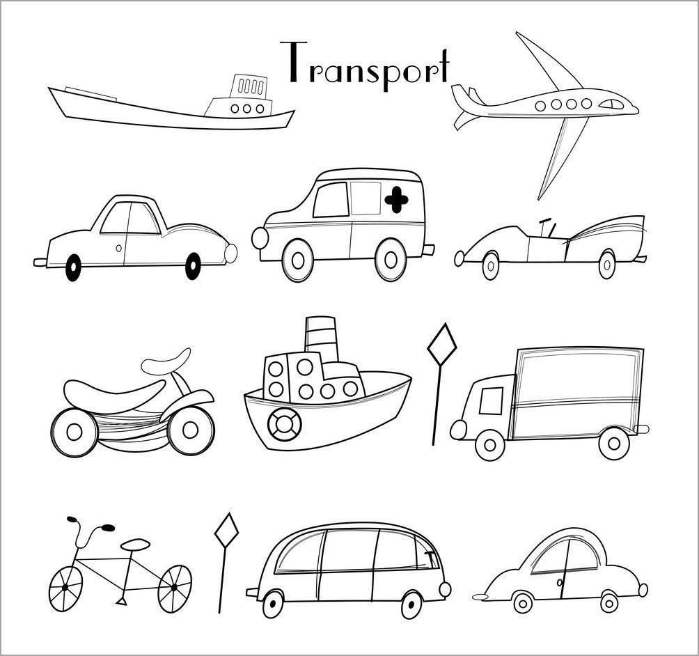Bộ sưu tập tranh tô màu phương tiện giao thông đẹp