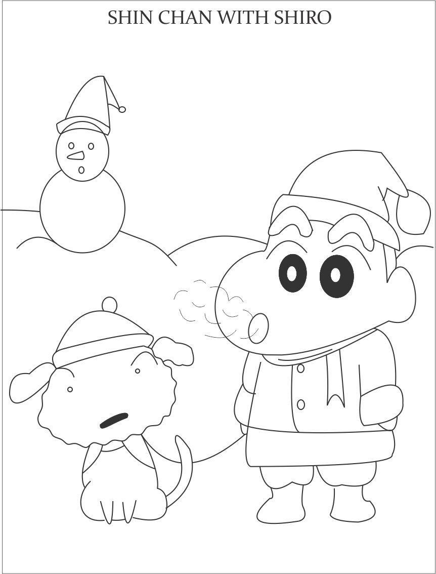 Tổng hợp tranh tô màu cậu bé Shin cậu bé bằng bút chì đẹp nhất cho bé